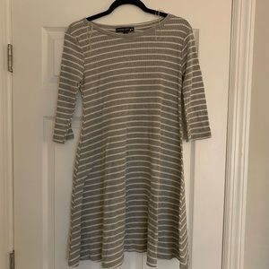 3/4 sleeve sweater dress grey and white striped